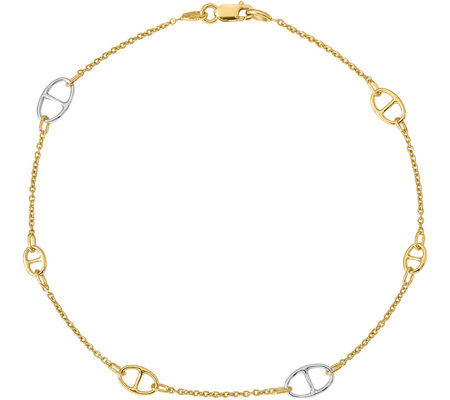 Italian Gold Two-Tone Anchor Station Anklet 14K, 2.8g