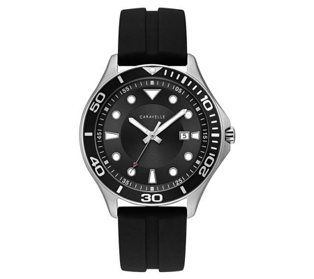 Caravelle Men's Black Silicone Strap Sport Watch