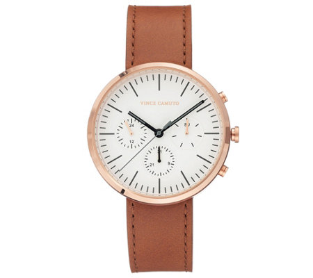 Vince Camuto Men's Multi-Function Tan Leather Strap Watch
