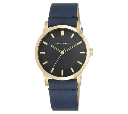 Vince Camuto Men's Goldtone Navy Blue Leather Strap Watch