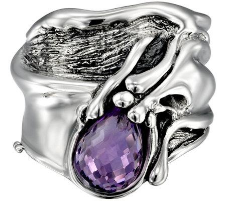Hagit Sterling Silver 3 10cttw Rose Cut Amethyst Ring
