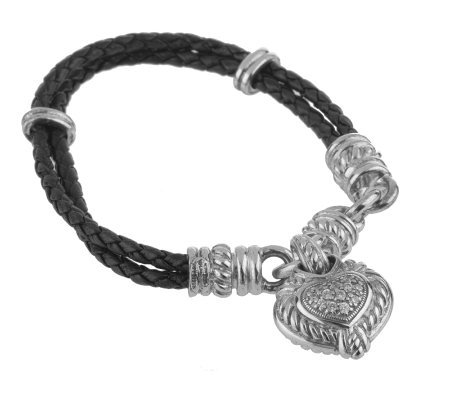 Judith Ripka Sterling Diamonique Heart Bracelet W Leather Strap
