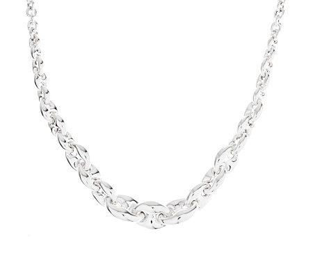 "VicenzaSilver Sterling 18"" Graduated Marine Link Necklace, 22.8g"
