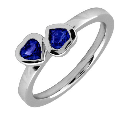 Simply Stacks Sterling & Created Sapphire Double-Heart Ring
