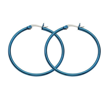 Stainless Steel Blue-Plated Hoop Earrings
