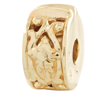 Prerogatives Gold-Plated Sterling Hinged FloralMotif Clip Bead
