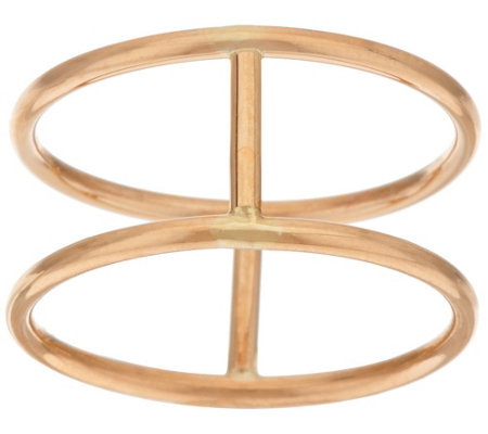 14K Gold Polished Double Band Bar Ring