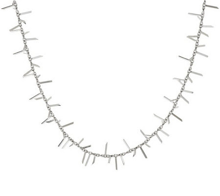 """As Is"" Italian Silver Sterling 18"" Polished Fringe Design Necklace, 8.1g"