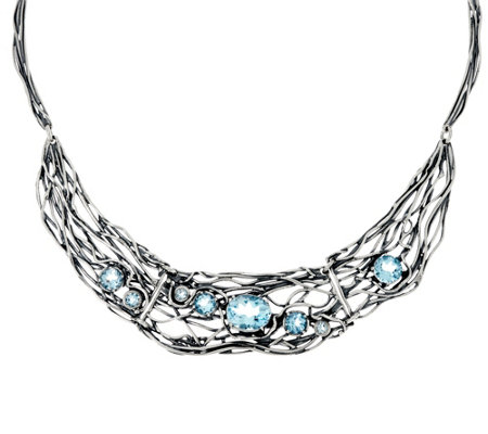 Or Paz Sterling Silver Gemstone Statement Necklace, 30.0g