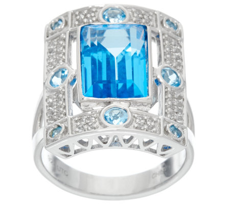 Jane Taylor Emerald Cut Gemstone Sterling Ring, 3.45 ct