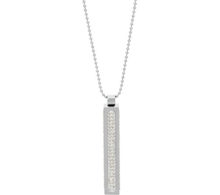 Stainless Steel Vertical Bar Crystal Pendant w/ Chain