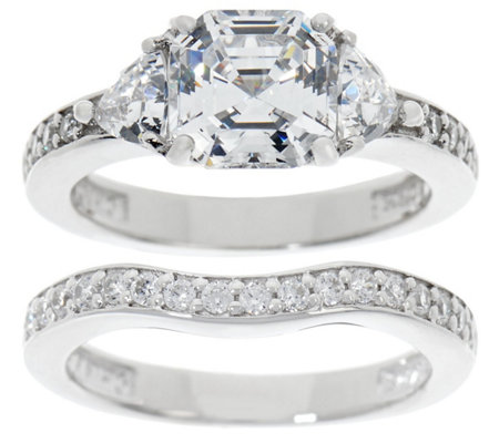 Diamonique 2.90 cttw Asscher Bridal Ring Set, Platinum Clad