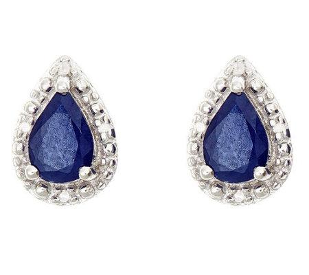 Sterling Pear Shaped Fancy Stud Earrings W Diamond Accent