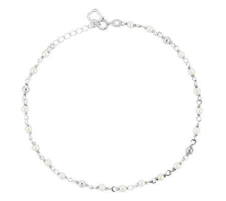 "Sterling 10"" Cultured Freshwater Pearl StationAnkle Bracelet"