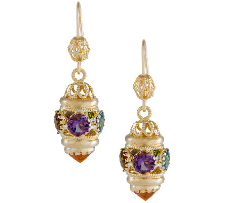 Arte d'Oro 9.50 cttw Multi-Gemstone Dangle Earrings, 18K