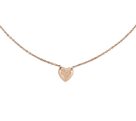 Stainless Steel Polished Rosetone Heart Necklace