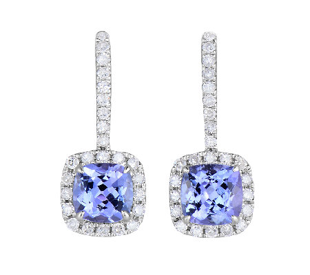 3/4cttw Tanzanite & Diamond Accent Earrings, Sterling