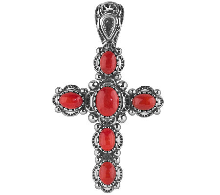 American West Sterling Red Coral Cross PendantEnhancer