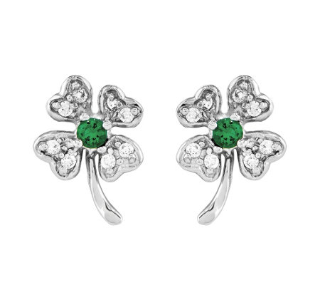 Sterling Four-Leaf Crystal Clover Post Earrings