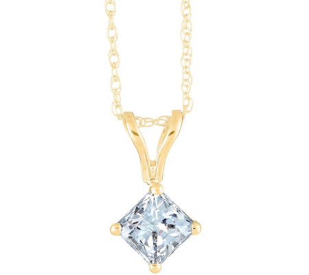 Princess-Cut Diamond Pendant, 14K Yellow, 3/4 cttw by Affinity