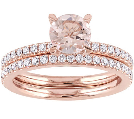 14K 1.00 ct Morganite & 6/10 cttw Diamond Rin gSet