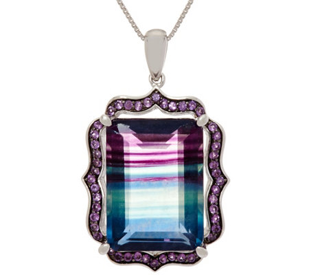 Bi-Color Fluorite Sterling Pendant on Chain