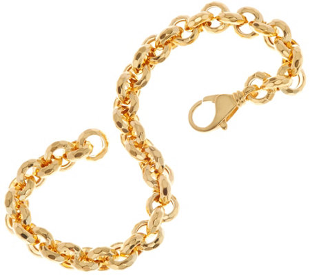 """As Is"" Italian Gold 7-1/4"" Faceted Link Rolo Bracelet 14K, 6.9g"