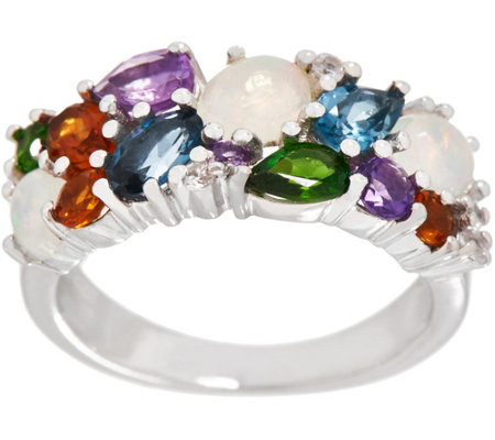 Colorful Mixed Gemstone Band Ring, 1.60 cttw, Sterling Silver