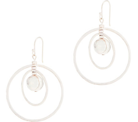 RLM White Bronze Hammered Ball Orbital Earrings