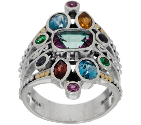 Artisan Crafted Sterling Silver & 18K Gold Multi-Gemstone Ring