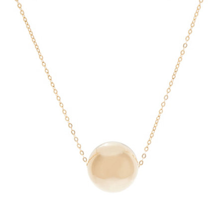 "Italian Gold Polished Bead Pendant with 18"" Chain, 14K Gold"