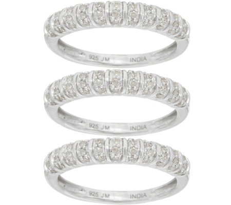 """As Is"" Set of 3 Pave' Band Rings, Sterling 5/8 cttw by Affinity"