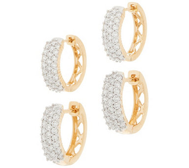 Affinity Diamond 14K Gold Huggie Hoops, 1/2 or 1.00 cttw - J358841