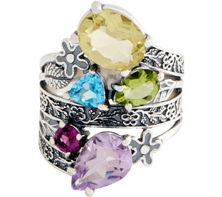 Or Paz Sterling Silver 5 45 cttw Rainbow Gemstone Ring — QVC com