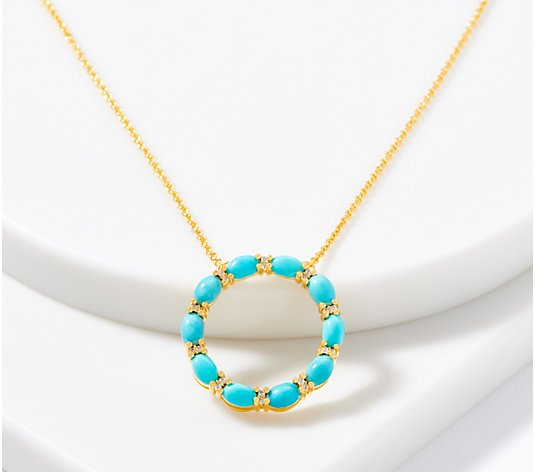 Opaque Gemstone Circle Pendant with Chain, 14K Plated