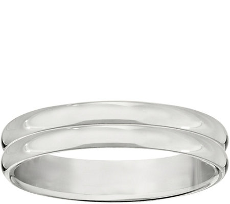 Men's 14K White Gold 4mm Double-Ribbed WeddingBand