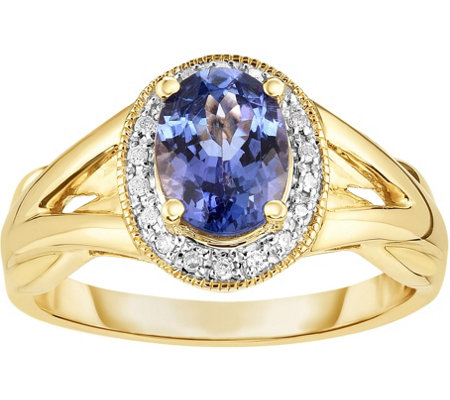 1.10 ct Tanzanite & Diamond Accent Halo Ring, 14K Gold