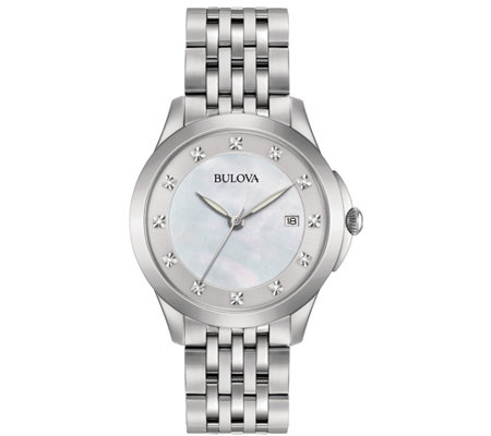 Bulova Women's Stainless Diamond Accent Bracelet Watch