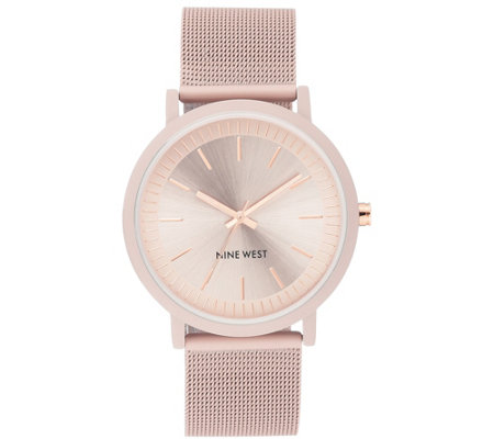 Nine West Women's Pink Rubberized Mesh BraceletWatch