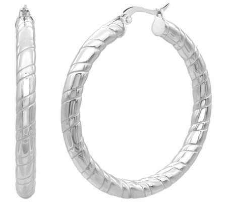 Steel By Design 1 3 4 Ribbed Hoop Earrings