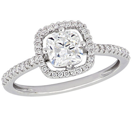 Affinity 1.20 cttw Diamond Cushion-Cut Engagement Ring, 14K