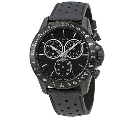 Tissot V8 Quartz Chronograph Black Strap Watch