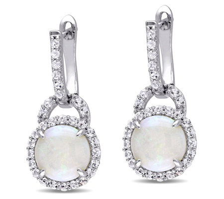 Sterling Silver 3 10 Cttw Opal White Topaz Earrings