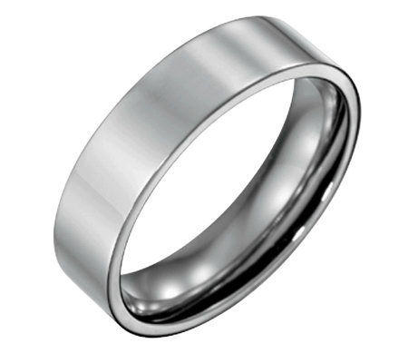 Forza Men's 6mm Steel Flat Polished Ring