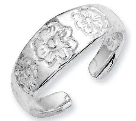 Sterling Floral Toe Ring