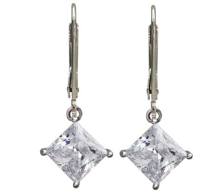 Diamonique Princess Cut Lever Back Earrings Platinum Clad