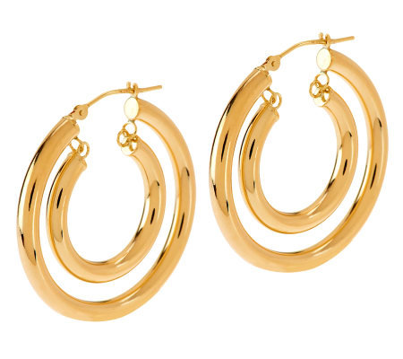 Eternagold Bold Polished Double Hoop Earrings 14k Gold