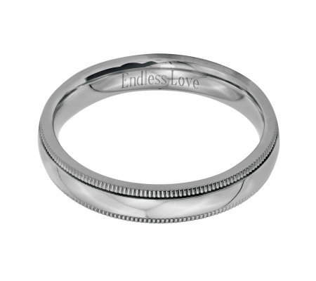 Stainless Steel 4mm Polished Milgrain Engravable Ring
