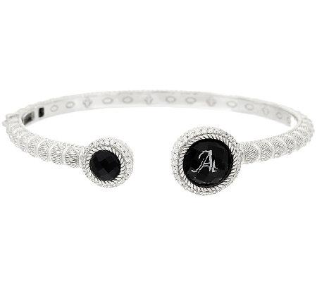 Judith Ripka Onyx Doublet Diamonique Initial Cuff Bracelet