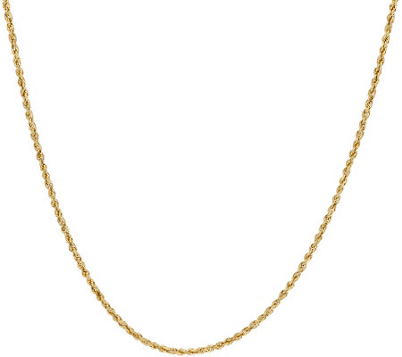 "14K Gold 24"" Diamond Cut Rope Chain Necklace, 3.5g"